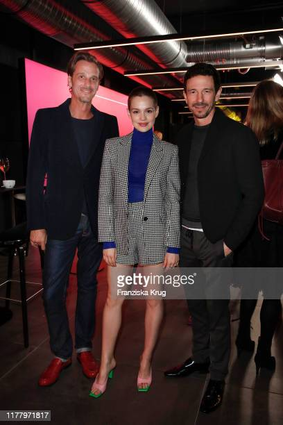 Max von Thun Emilia Schuele and Oliver Berben during the world premiere of the new Volkswagen Golf 8 on October 24 2019 in Wolfsburg Germany