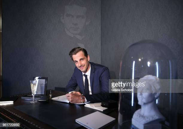 Max von Thun writes with a filler during the 27th Montblanc de la Culture Arts Patronage Award at Residenz on April 26 2018 in Munich Germany