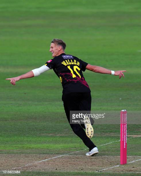 Max Waller of Somerset celebrates the wicket of Andrew Salter of Glamorgan during the Vitality Blast match between Somerset and Glamorgan at the...