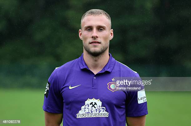 Max Wegner poses during the official team presentation of Erzgebirge Aue at ground 2 on July 14 2015 in Aue Germany
