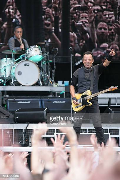 Max Weinberg and Bruce Springsteen performs with the E Street Band at Croke Park Stadium on May 27 2016 in Dublin Ireland