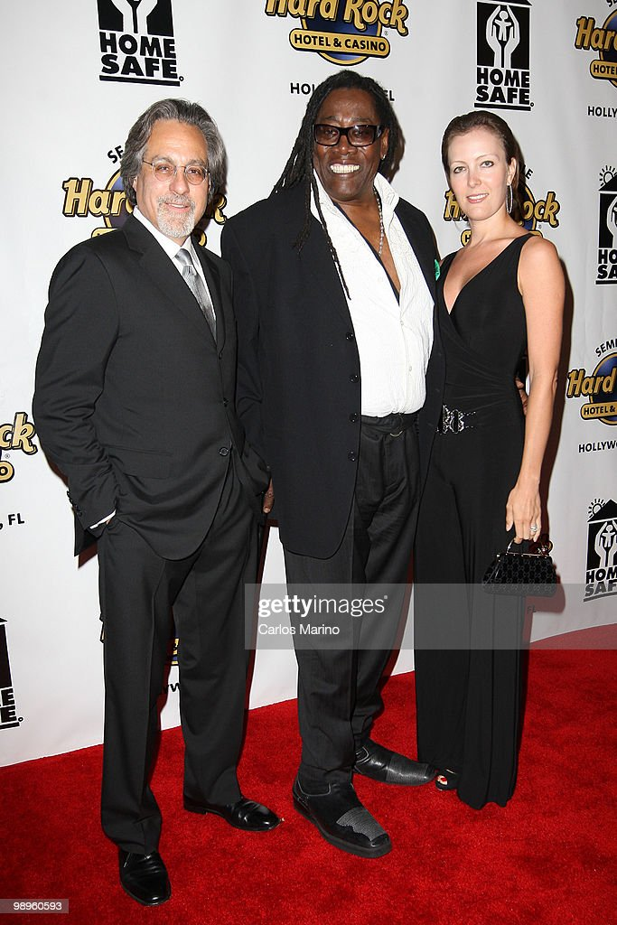 Max Weinberg, Clarence Clemons and Victoris Clemons attend Clarence Clemons Classic Benefitting Homesafe at Seminole Hard Rock Hotel on May 8, 2010 in Hollywood, Florida.