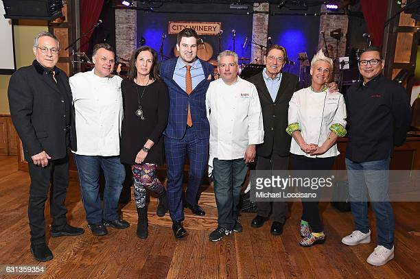 Max Weinberg Francois Payard Odila GalerNoel Tim Morehouse Dino Gatto Joe Namath Anne Burrell and Masaharu Morimoto pose at an event hosted by Inside...