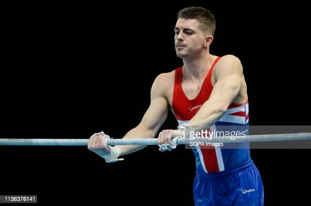 Max Whitlock from Great Britain seen in action on the high bar during men the qualifications of 8th European Championships in Artistic Gymnastics