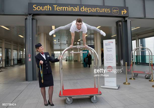 Max Whitlock helps British Airways customers at Gatwick Airport by becoming a baggage porter for the morning to raise money for Sport Relief on March...
