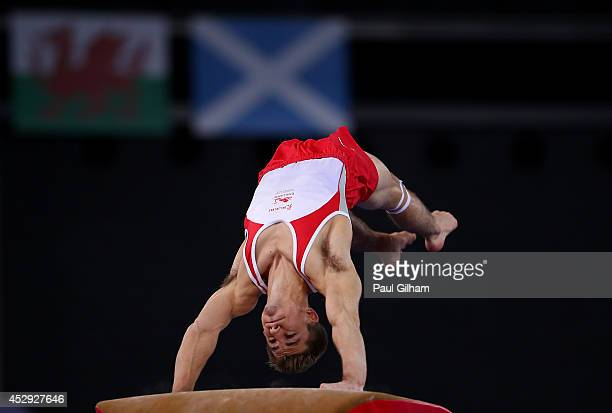Max Whitlock of England competes in the Vault on his way to winning the Gold Medal in the Men's AllAround Final at SECC Precinct during day seven of...