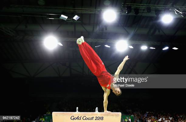 Max Whitlock of England competes on the pommel horse in the Men's Team Final and Individual Qualification during the Artistic Gymnastics on day one...
