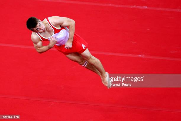 Max Whitlock of England competes on the way to winning the gold medal in the Men's AllAround Final at the SSE Hydro during day seven of the Glasgow...