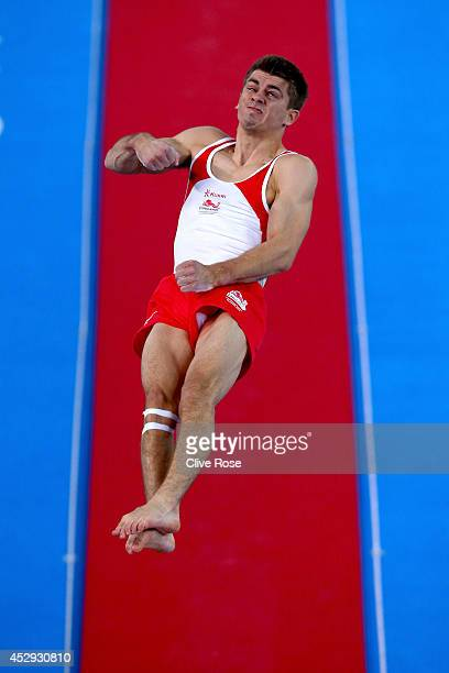 Max Whitlock of England in action during the Men's AllAround Final at the SECC Precinct during day seven of the Glasgow 2014 Commonwealth Games on...