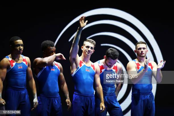 Max Whitlock of Great Britain and Team Great Britain is presented prior to the Men's Team Gymnastics Final Medal ceremony during the Gymnastics on...