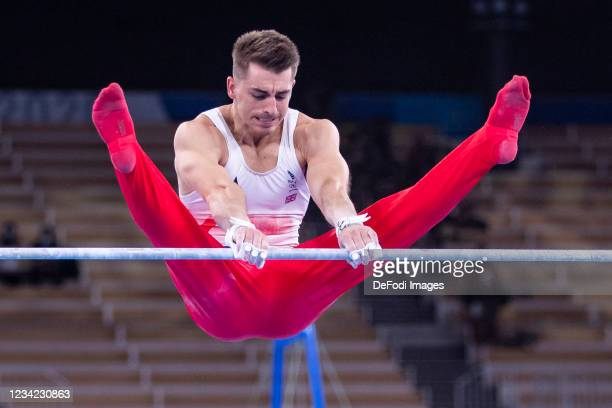Max Whitlock of Great Britain competes at high bar on day three during the final of men in gymnastics at the Olympic Games 2020 at Ariake Gymnastics...