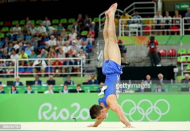 Max Whitlock of Great Britain competes in the Men's Floor Exercise Final on Day 9 of the Rio 2016 Olympic Games at the Rio Olympic Arena on August 14...