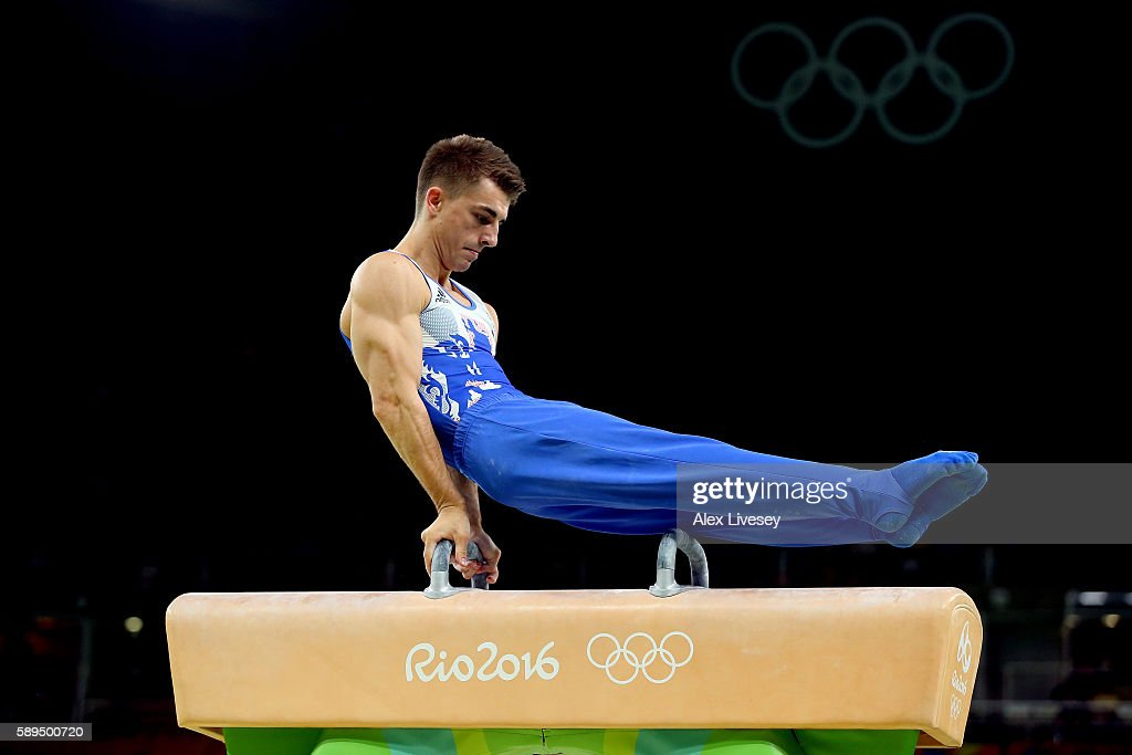 Max Whitlock of Great Britain competes in the Men's Pommel Horse Final on Day 9 of the Rio 2016 Olympic Games at the Rio Olympic Arena on August 14, 2016 in Rio de Janeiro, Brazil.