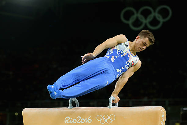 Max Whitlock of Great Britain competes in the Men's Pommel Horse Final on Day 9 of the Rio 2016 Olympic Games at the Rio Olympic Arena on August 14,...