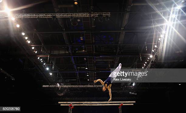 Max Whitlock of Great Britain competes in the Parallel Bars during the British Gymnastics Championships at the Echo Arena on April 10 2016 in...