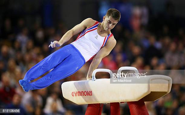Max Whitlock of Great Britain competes on the Pommel during the 2016 FIG Artistic World Cup at The Emirates Arena on March 12 2016 in Glasgow Scotland