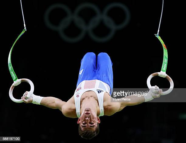 Max Whitlock of Great Britain competes on the rings during the Men's Individual AllAround final on Day 5 of the Rio 2016 Olympic Games at the Rio...