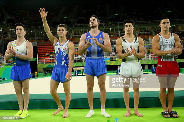 Max Whitlock of Great Britain is introduced prior to Men's Floor Exercise Final on Day 9 of the Rio 2016 Olympic Games at the Rio Olympic Arena on...