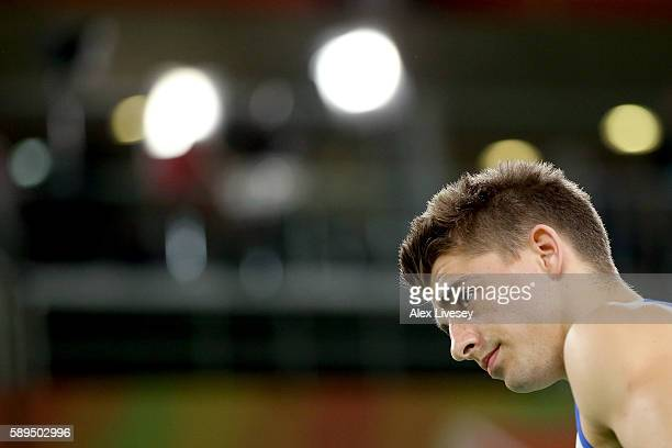 Max Whitlock of Great Britain prepares to comepte in the Men's Floor Exercise Final on Day 9 of the Rio 2016 Olympic Games at the Rio Olympic Arena...