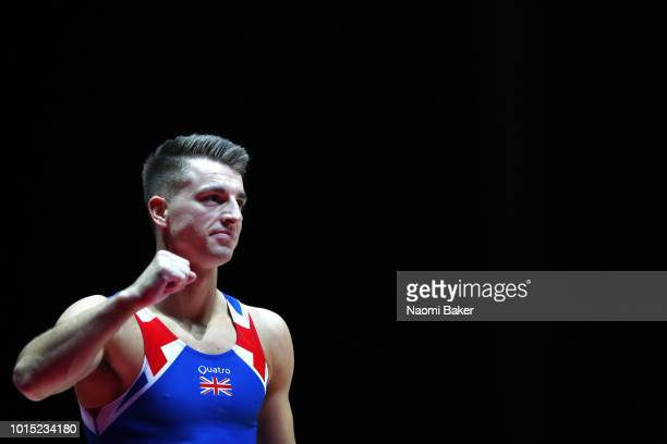 Max Whitlock of Great Britain reacts after competing in Pommel Horse in the Men's Team Gymnastics Final during the Gymnastics on Day Ten of the...