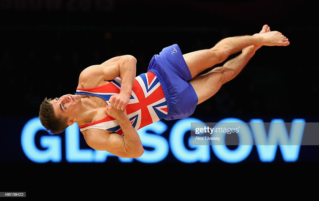 Max Whitlock of Great Britain wins Silver in the Floor Final during day nine of the 2015 World Artistic Gymnastics Championships at The SSE Hydro on October 31, 2015 in Glasgow, Scotland.