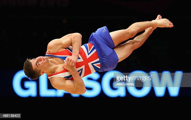 Max Whitlock of Great Britain wins Silver in the Floor Final during day nine of the 2015 World Artistic Gymnastics Championships at The SSE Hydro on...