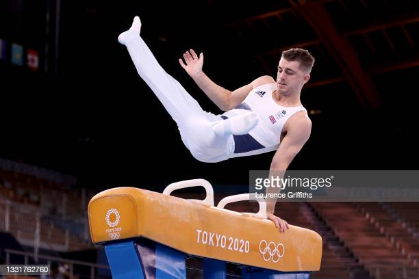 Max Whitlock of Team Great Britain competes in the Men's Pommel Horse Final on day nine of the Tokyo 2020 Olympic Games at Ariake Gymnastics Centre...