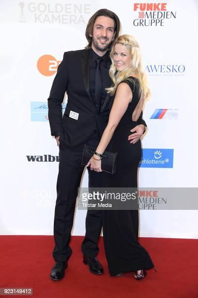 Max Wiedemann and his girlfriend Tina Kaiser attend the Goldene Kamera on February 22 2018 in Hamburg Germany