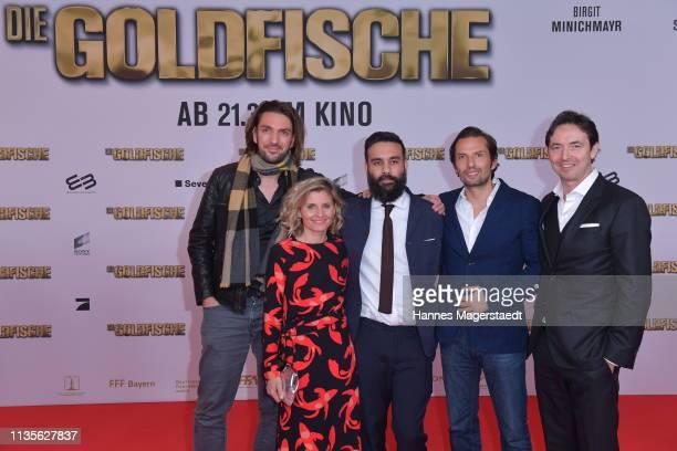 Max Wiedemann Justyna Muesch Alireza Golafshan Quirin Berg and Martin Bachmann attends the premiere of the movie 'Goldfische' at Mathaeser Filmpalast...