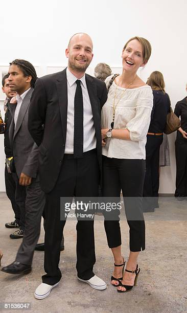 Max Wigram and Saffron Aldridge attend Marine Hugonnier's 'The Secretary of the Invisible' exhibition private view at the Max Wigram Gallery 28...