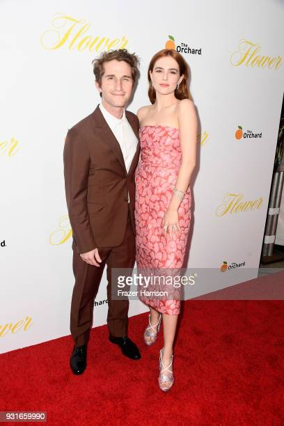 Max Winkler and Zoey Deutch attend the premiere of The Orchard's 'Flower' at ArcLight Cinemas on March 13 2018 in Hollywood California