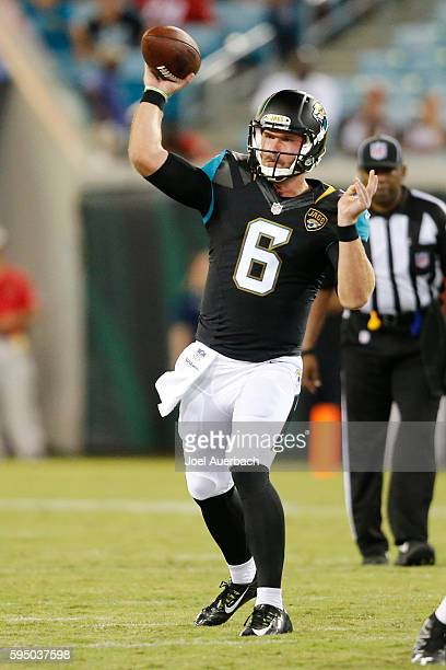 Max Wittek of the Jacksonville Jaguars throws the ball against the Tampa Bay Buccaneers during a preseason game on August 20 2016 at EverBank Field...