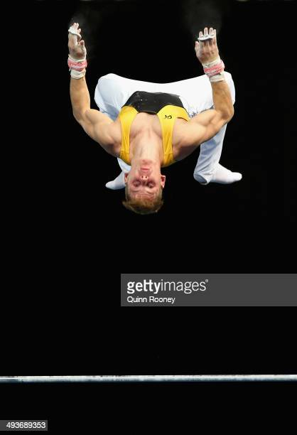 Max Woloszyn of western Australia competes on the High Bar during the Australian National Gymnastics Championships at Hisense Arena on May 25, 2014...