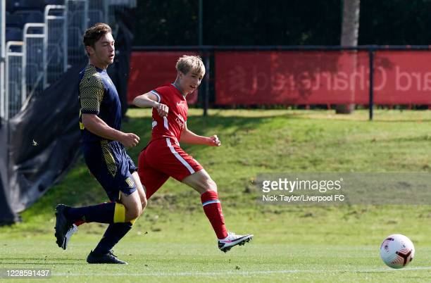 Max Woltman of Liverpool and Henry Nash of Stoke City in action during the U18 Premier League game at The Kirkby Academy on September 19 2020 in...
