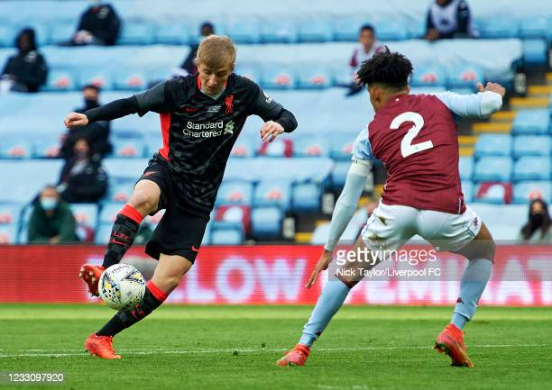 Max Woltman of Liverpool and Kaine Kesler-Hayden of Aston Villa in action during the FA Youth Cup Final between Aston Villa U18 and Liverpool U18, at...