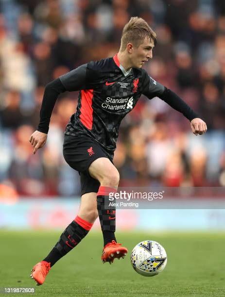 Max Woltman of Liverpool during the FA Youth Cup Final between Aston Villa U18 and Liverpool U18 at Villa Park on May 24, 2021 in Birmingham, England.