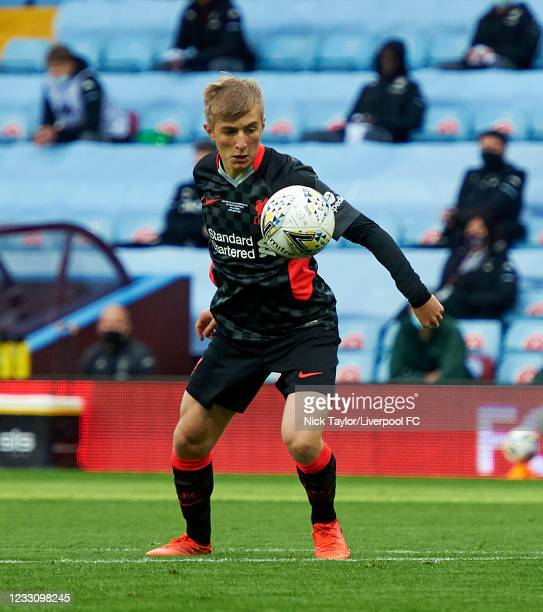 Max Woltman of Liverpool in action during the FA Youth Cup Final between Aston Villa U18 and Liverpool U18, at Villa Park on May 24, 2021 in...