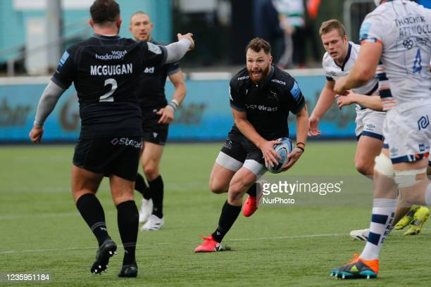 Max Wright of Newcastle Falcons looks for space during the Gallagher Premiership match between Newcastle Falcons and Bristol at Kingston Park,...