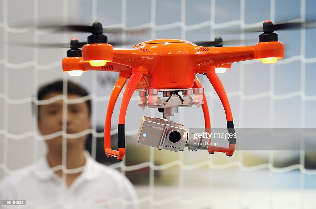 A MaxAero quadcopter drone flies with a camera attached at the 2015 CeBIT technology trade fair on March 16, 2015 in Hanover, Germany. China is this year's CeBIT partner. CeBIT is the world's largest tech fair and will be open from March 16 through March 20.