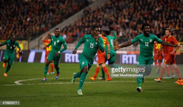 MaxAlain Gradel of Ivory Coast celebrates after he scores his teams second goal during the International Friendly match between Belgium and Ivory...