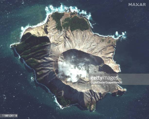 Maxar before eruption satellite imagery of the White Island Volcano Please use Satellite image 2019 Maxar Technologies