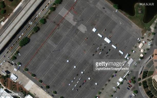 Maxar closeup satellite imagery of the coronavirus testing at the TIAA Bank Field Stadium in Jacksonville Florida during the COVID19 pandemic Please...