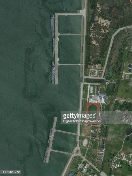 Maxar closeup satellite imagery of the South Fleet Naval Port in Zhanjiang China Please use Satellite image 2019 Maxar Technologies