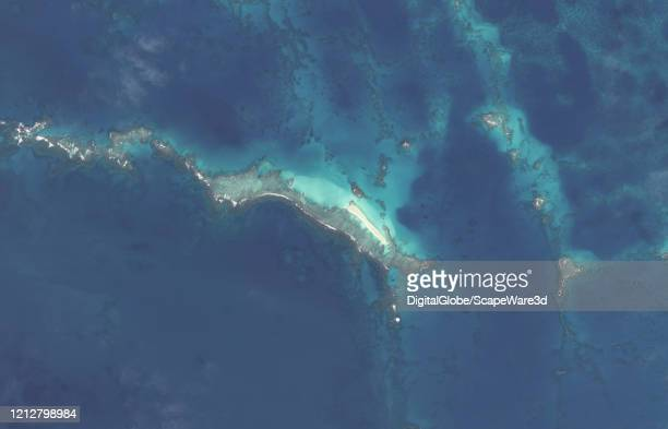 Maxar satellite imagery of East Island Hawaii in the French Frigate Shoals after it was hit by Hurricane Walaka Please use Satellite image 2020 Maxar...