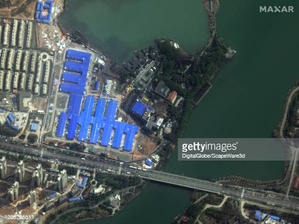 WUHAN CHINA COVID19 FEBRUARY 22 2020 Maxar satellite imagery of Huoshenshan Hospital Wuhan China after constructionof the COVID19 medical buildings...