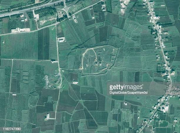 Maxar satellite imagery of the Him Shinshar chemical weapons bunker before being struck