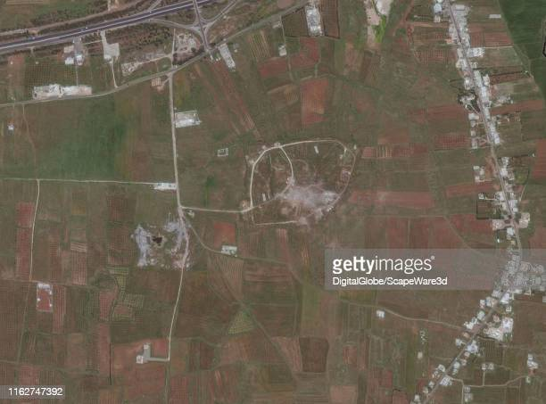 Maxar satellite imagery of the Him Shinshar chemical weapons bunker after being struck