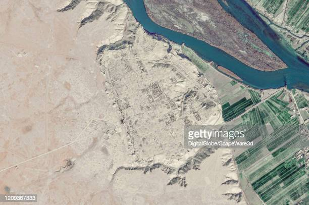 Maxar satellite imagery of the the Dura Europos before looting Please use Satellite image 2020 Maxar Technologies