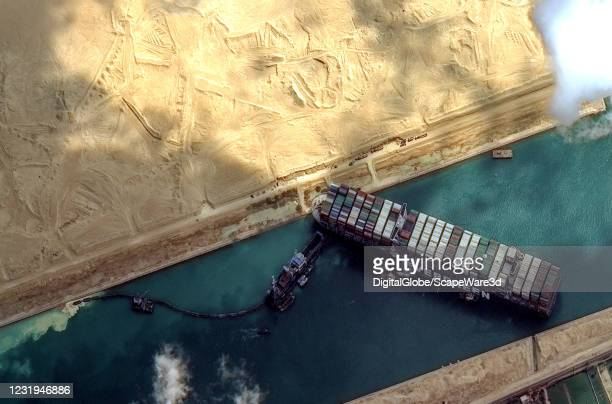 Maxar's WorldView-2 collected new high-resolution satellite imagery of the Suez canal and the container ship that remains stuck in the canal north of...