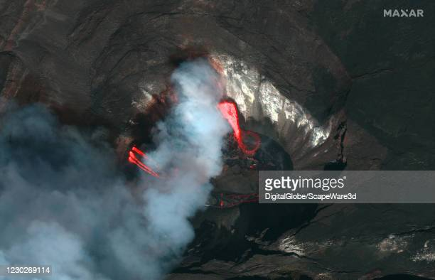 Maxars WorldView-2 satellite collected new imagery of the Kilauea volcano on Hawaiis Big Island which began erupting again. Please use: Satellite...
